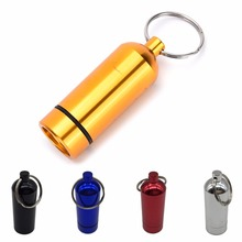 Aluminum Pill Box Case Bottle Waterproof Cache Drug Organizer Holder Keychain Container Pill Cases & Splitters