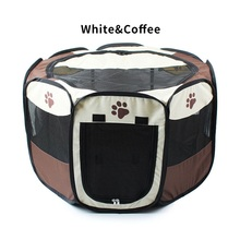 Nylon foldable practical breathable outdoor dog cat cage octagonal house kennel playpen tent for dogs cats pet fence supplies(China)