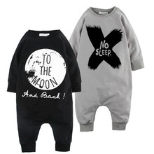 2016 Baby boy cool romper cotton Pure color no sleep infant jumpsuit fashion baby customs(China)