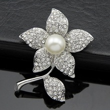 1pcs Crystal Wedding Bridal Brooches Bouquet Silver Flower Faux Pearl Brooch Pin Scarf Pin Free Shipping