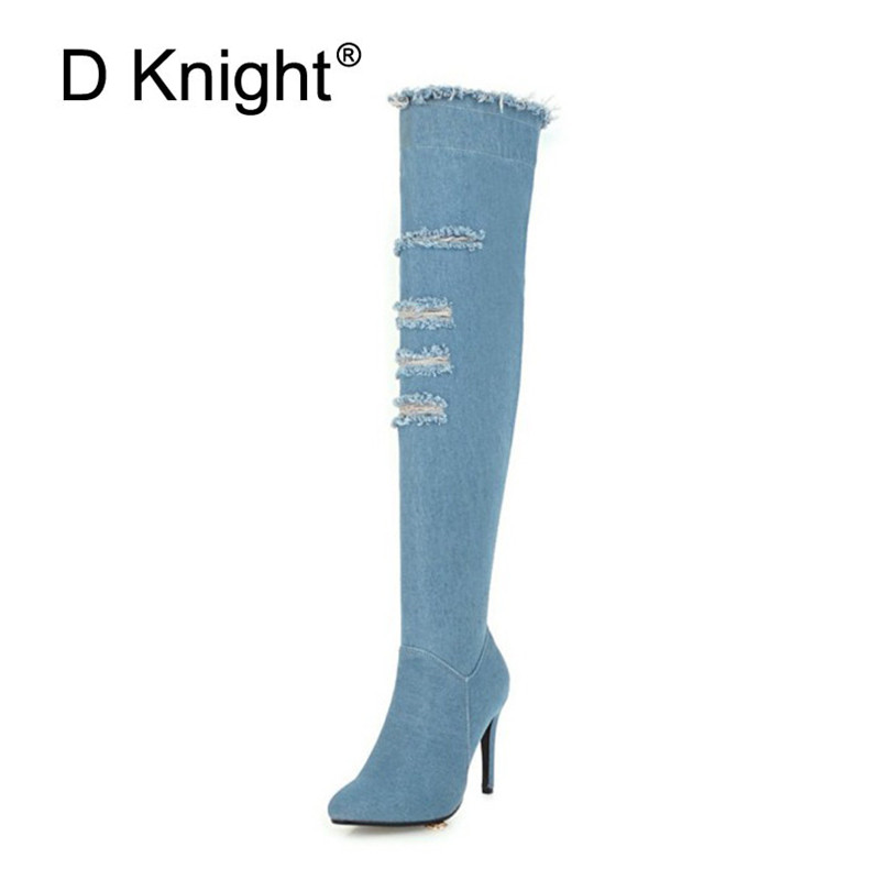 2018 Winter Boots Sexy Ponited Toe Women\`s Over The Knee Boots Fashion Denim Blue thigh High Boots Large Size 48 High Heels Boot (7)