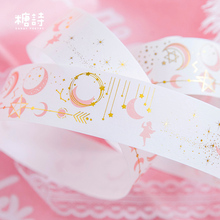 AH17 3.5cm Wide Pink Princess Gold Star Moon Masking Tape Album Decorative Washi Tape School Supply Stationery Stick Label(China)