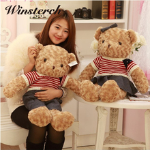 60cm 40cm Plush Lovely Wearing Clothes Bear Toy Cute Stuffed Animals Teddy Bear Dolls Pillow Baby Kids Toys Birthday Gift WW325
