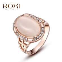 ROXI Ring For Wome Christmas Gift Classic Genuine Austrian Alloy Crystals Rose Gold Plating Pink Opal Engagement Ring Jewelry(China)