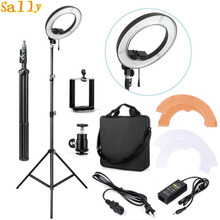 "ES240 240 LED 18"" Stepless Adjustable Ring Light Camera Photo/Video 240pcs LED 5500K Dimmable + 2 Color Filter + stand(China)"