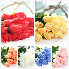 real touch rose bud heads------wedding men's boutonnieres material------red white yellow orange blue pink(China)