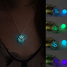 Women's Glow Life of Tree Locket Hollow Cube Square Pendant Luminous Statement Chocker Necklace Gift 88 KQS