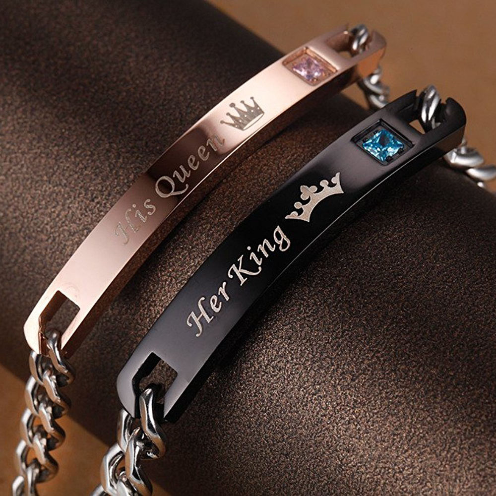 Drop Shipping Unique Gift for Lover Couple Bracelets Stainless Steel His Queen Her King Bracelets with Zircon Women Men Jewelry