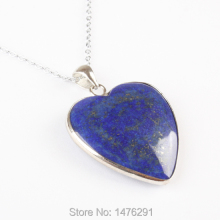 31x34MM Natural Lapis Lazuli Heart Bead Double Sided Gem Pendant 1PCS