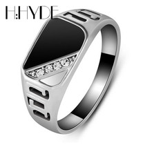 H:HYDE New Fashion Size 7-12 Classic Gold Silver Color Rhinestone Men Ring Black Enamel Male Finger Rings Best Selling