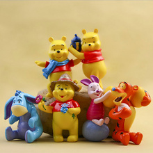 6pcs/set Original mini Winnie bear on Stand High PVC Action Figure Toys for girls baby dolls Cake Topper Birthday Gift car decor