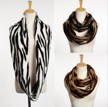 Yyun Ladies Zebra Faux Fur Infinity Scarf Women Winter Soft Fur Snood Sexy Warm Collar Scarf Neck Warmer(China)