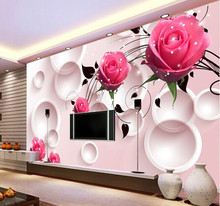 Wholesale Shining Pink Rose and Circle Flower Mural Wallpaper for TV Background Living Room 3d Photo Murals Fresco 3d Murals