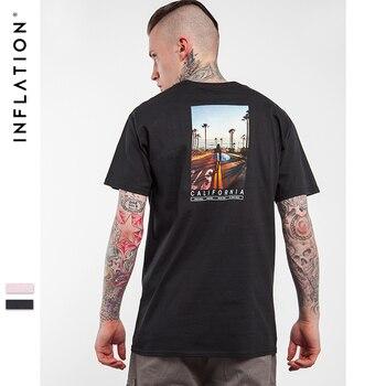 INFLATION Hommes Palais Planche À Roulettes Hip hop Lettre Imprimé Casual T Chemises de Haute Qualité À Manches Courtes Tee Palais T chemise