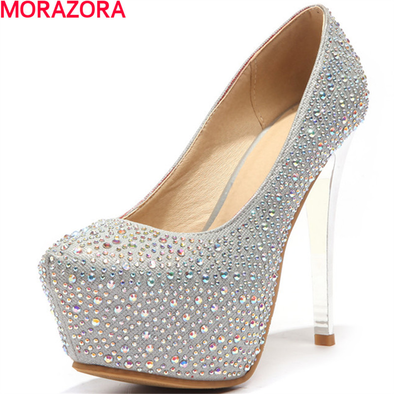 MORAZORA High heels shoes women pu leather +rhinestone glitter pumps platform shoes party wedding  fashion shoes shallow<br>