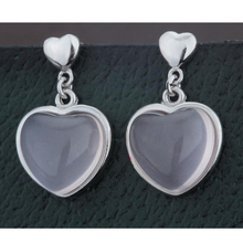 Silver 925 Jewelry Dangles Earrings For Women Eardrop Heart Love Stones Ross Quartz White Gold Pink Fine Findings Gift 20mm 1pc