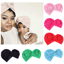 2pcs Indian Style Parent-child Hats Flower Turban Yoga Pullover Hat Candy Color Parent and Child Hat for Mother and Newborn