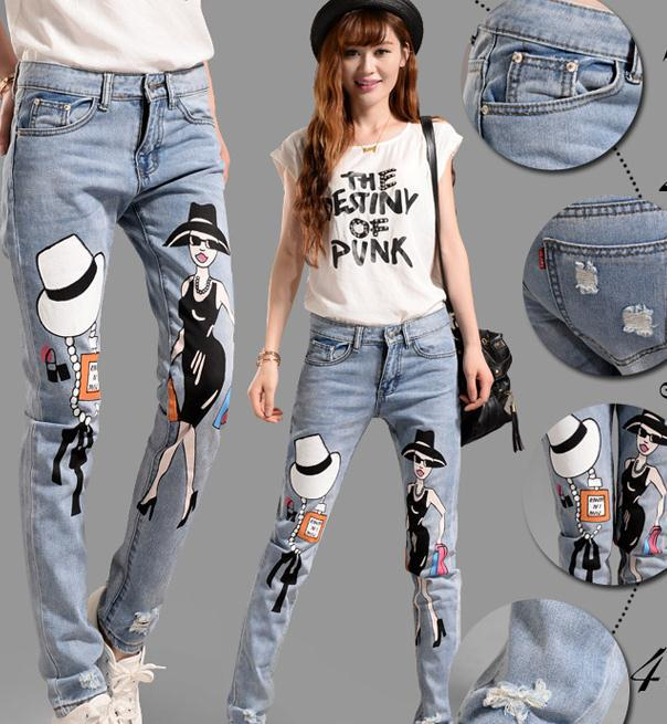 new style sexy printing jeans trousers female Hole loose comfortable denim female pant plus sizeОдежда и ак�е��уары<br><br><br>Aliexpress