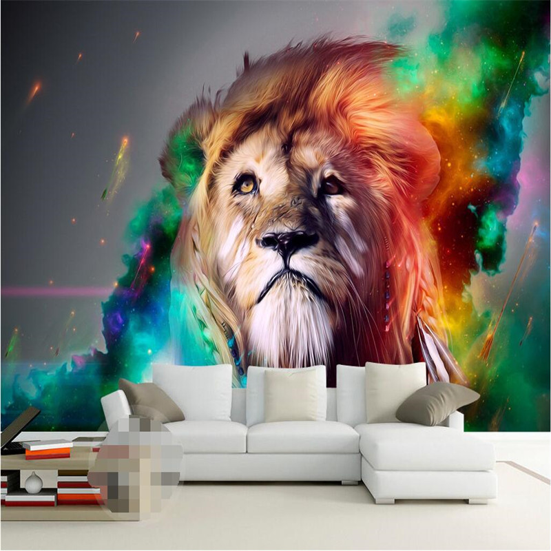 custom photo wall mural wallpaper-3d Luxury Quality HD Color Lions Return the King mighty hand drawn style large wall mural-3d<br><br>Aliexpress