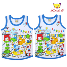 2017 Little Q pure cotton baby boys summer printed sleeveless children outfits fashion kids vest+shorts clothes set