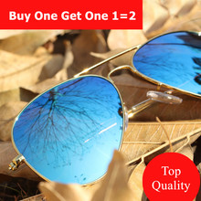 Buy One Get One Free Fashion Female Male Sunglasses Women Men Vintage Aviator Sunglass Lady Points Sun Glasses For Women Men(China)