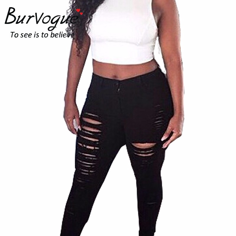 Burvogue 2017 sexy plus size jeans hole tight denim ripped skinny pants butt lifting jeans fashion mid-waist jeans for womenОдежда и ак�е��уары<br><br><br>Aliexpress