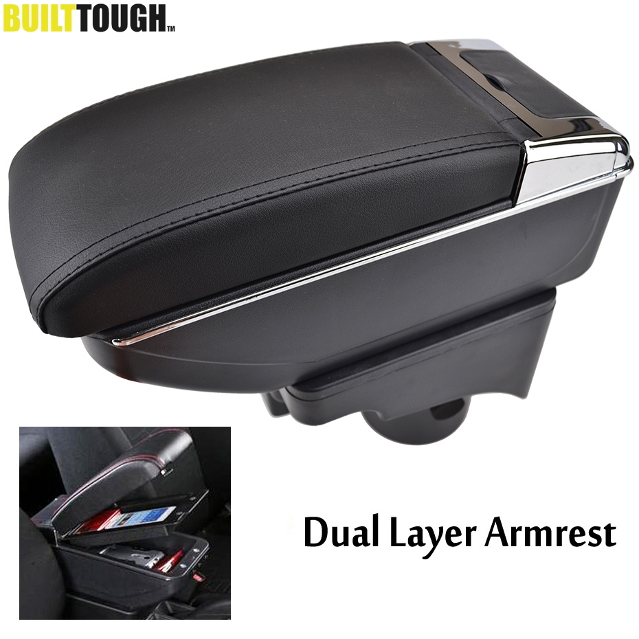 Arm-Rest Cup-Holder Storage-Box Center-Console Wagon Jetta VW Golf Vento 2009 Dual-Layer title=