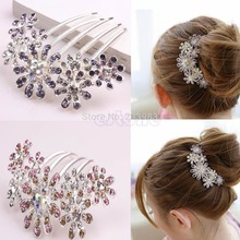 Crystal Rhinestone Tuck Comb Multiple Flower Pattern Fashion Hair Pin Clip(China)