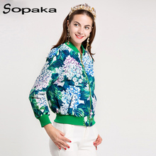 2017 Autumn New Arrival Women's Hydrangea Bomber Jacket Flower P  Blooming Sequined Long Sleeve Short Coat Green Outer Wear