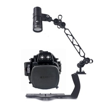 Underwater Waterproof Housing Diving Case For Canon EOS-M EOS-M2 EOS-M3 18-55mm lCamera + Lighting Arm Bracket + Led Video Torch