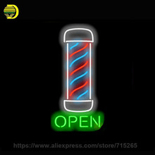 Neon Sign Barber Pole Open Handmade Glass Tube Free Design Neon Bulbs Neon Light Sign Advertise Lamp Bright Store Display 24x10