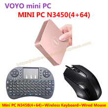 VOYO VMac Mini PC V1 Windows 10 Pocket PC (4GB RAM+64GB SSD) Intel Lake Apollo N3450+Wired Mouse+Wireless Keyboard=N3450 KIT-E-A