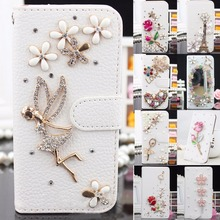 Luxury Top quality Hand-made DIY Crystal Rhinestone Flip Wallet Leather phone case for Samsung galaxy S3 4 5 7edge for iPhone(China)