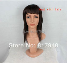 one head+one wig Realistic Plastic female mannequin heads manikin dummy head with hair D5-W,T11(China)