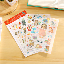 6 PCS New Translucent Lovely Stickers Paper Girls Combination Paper Doll Mate Children Notebook Stationery Decorative Stickers(China)