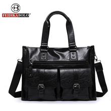 FEIDIKA BOLO Designer Handbags High Quality Tote Bag Men Messenger Bags Business Man PU Leather Bags Men Shoulder Bag