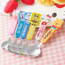 Kids Tableware Feeding Spoon Fork Stainless Steel with Lovely Cartoon Handle Decor Tea Spoons Baby Flatware Kitchen Accessorie