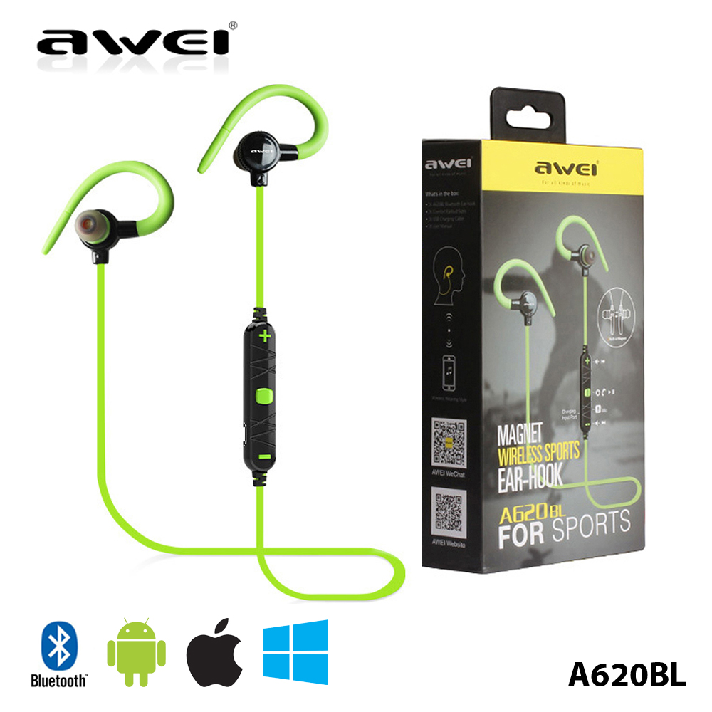 4.0 Stereo In-Ear Headset Wireless Bluetooth Earphone Noise Canceling for AWEI A620BL Running Wireless Headset with Mic<br><br>Aliexpress