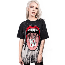 Women's Streetwear Big Mouth Digital Printing T-Shirt Fashional Quick-drying Short Sleeve Loose Milk Silk Tops(China)