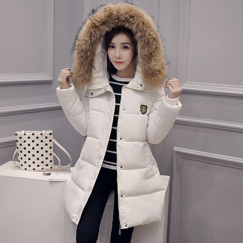 2017 Winter New Parka Coat Women Fashion Thick Warm Hooded Fur Collar Long Sleeve Mid-long Outerwear Windbreaker Winter CoatÎäåæäà è àêñåññóàðû<br><br>