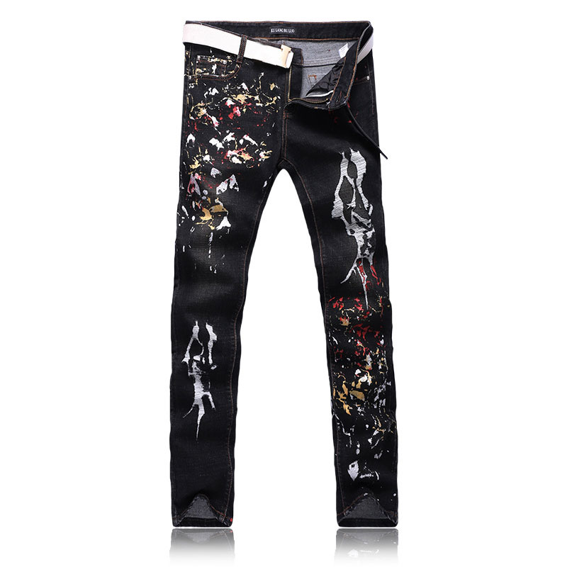 Men Graffiti Printed Jeans Painting Pants Pantalones Vaqueros Hombre Slim Pencil Pants Long Denim Jeans Personality Design 29-38Одежда и ак�е��уары<br><br><br>Aliexpress