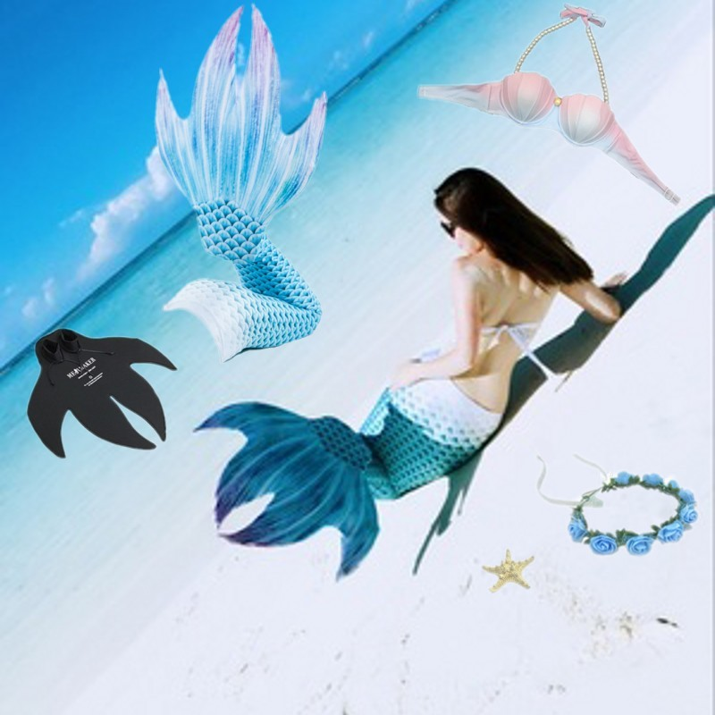 5pcs/set New Mermaid Tail Monofin Bikini Swimmable Kids Adults Girls Women Cosplay Costume Swimming Mermaid Tail Swimsuit
