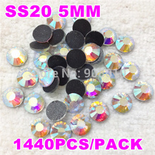 Big sale! 1440pcs SS20 DMC crystal AB iron-on hotfix rhinestones with glue,transfer flatback hotfix crystal stones for clothing(China)