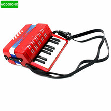 Kids Children 17-Key 8 Bass Mini Small Accordion Educational Musical Instrument Rhythm Band Toy Red Learning & Education Toys(China)