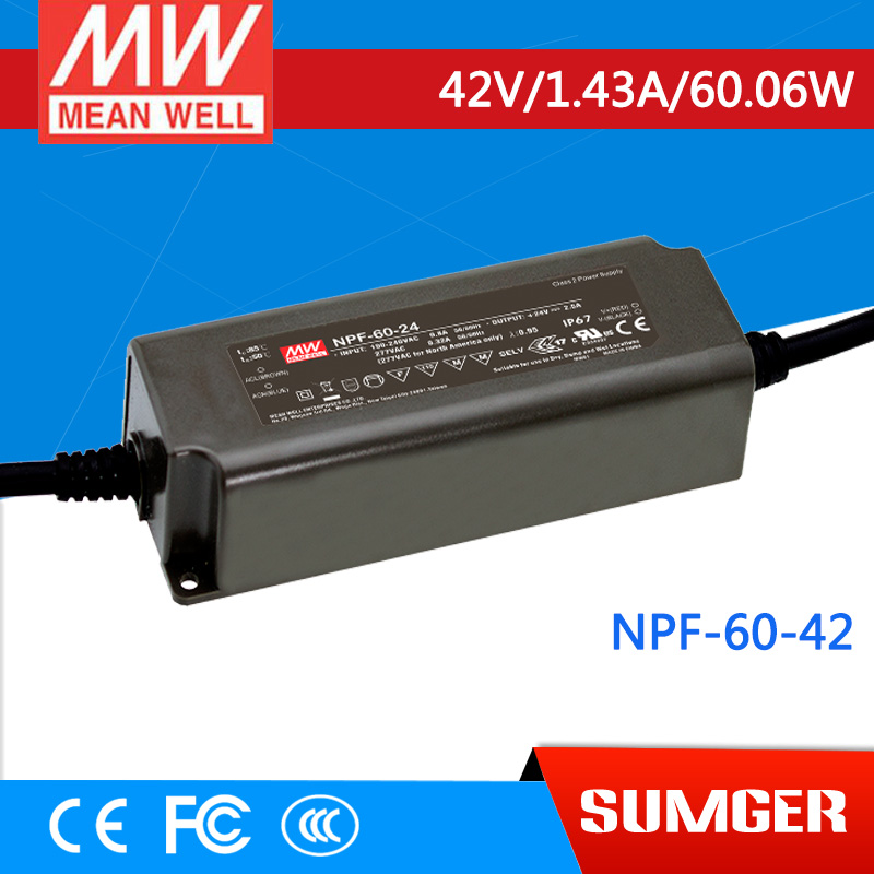 1MEAN WELL original NPF-60-42 42V 1.43A meanwell NPF-60 42V 60.06W Single Output LED Switching Power Supply<br>