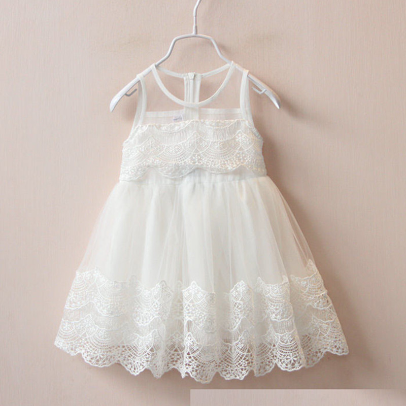 2016 Gorgeous Girls transparent lace hem vest dress summer fashion clothes girls dressess nice flower princess party wear 16O101<br><br>Aliexpress