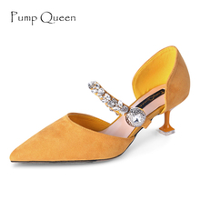 Mary Jane Women Pumps Fashion Shoes for Woman Elegant Pointed Party Heels Med Heel Designer Crystal Ladies Dresses Shoes Yellow(China)