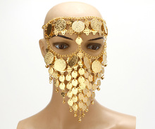 Belly Dance Costume Headwear Coins Face Mask Veil Tribal Arab African Egypt Gold Plated Accessory