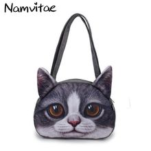 Women Shoulder Bag 3D Cute Cat Face Famous Designer Cat Printing Pattern Handbag Pretty Style Girls Casual Animal Shopping Bag(China)