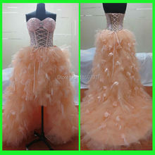 Customized  Real Made Off Shoulder Brand Orange Corset Back Beaded Prom Dress Transparent Fashion Design
